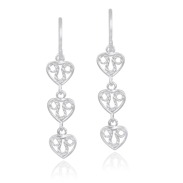 Sterling Silver 3 Filigree Hearts Dangle Earrings