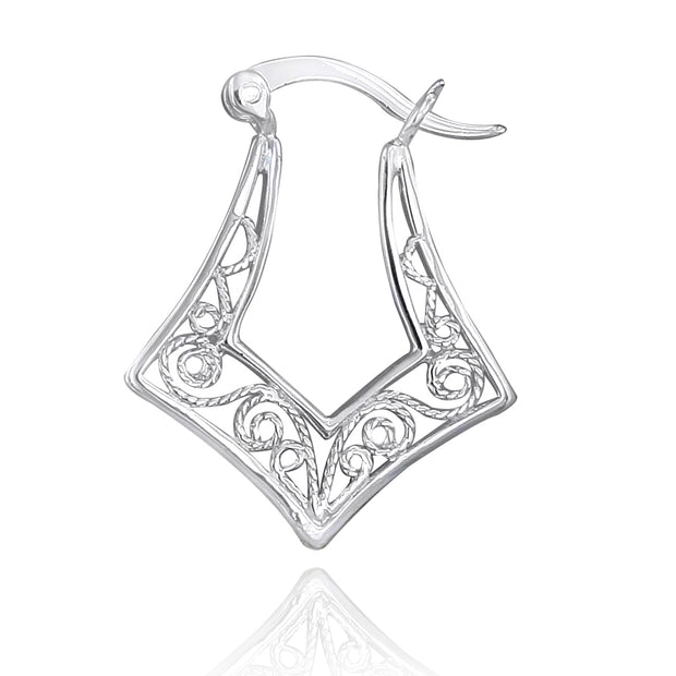 Sterling Silver Filigree Geometric Earrings