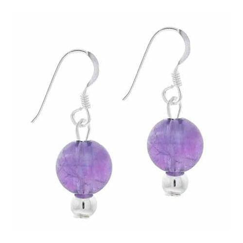 Sterling Silver 6mm Cabochon Amethyst Bead Dangle Earrings