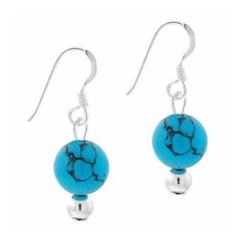 Sterling Silver 6mm Reconstituted Turquoise Stone Bead Dangle Earrings