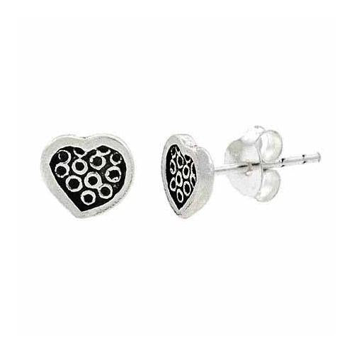 Sterling Silver Dotted Heart Stud Children's Earrings