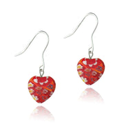 Sterling Silver Murano Glass Red Oval Flower Millefiori Heart Earrings