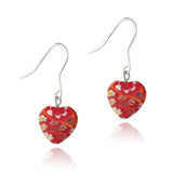 Sterling Silver Murano Glass Red Oval Flower Millefiori Heart Earrings Valentine's Day