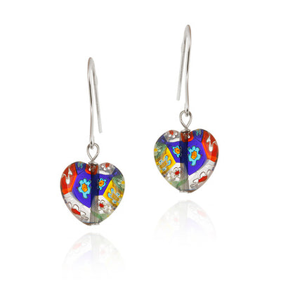 Sterling Silver Multi-Color Millefiori Murano Glass Heart Earrings