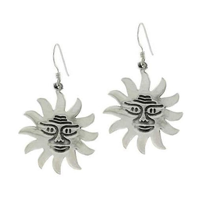 Sterling Silver Smile Sun Dangle Earrings