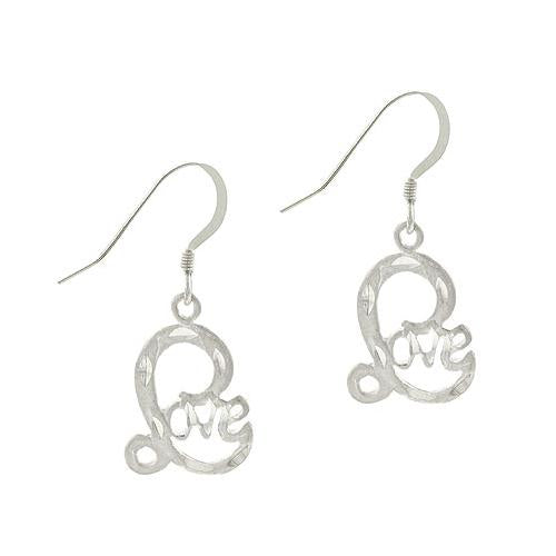 "Sterling Silver ""Love"" Dangle Earrings"