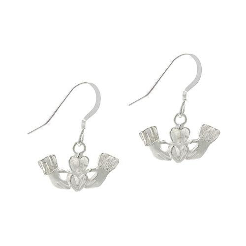 Sterling Silver Claddagh Symbol Dangle Earrings