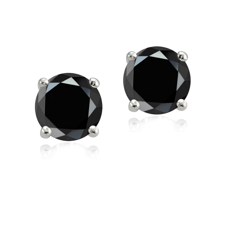 Sterling Silver 4ct Black Cubic Zirconia 8mm Round Stud Earrings