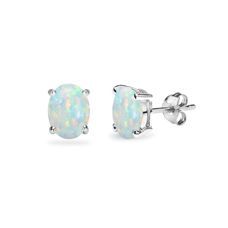 Sterling Silver Created White Opal 6x4mm Oval-Cut Solitaire Stud Earrings