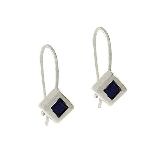 Sterling Silver Black CZ Diamond Shaped Cube Earrings