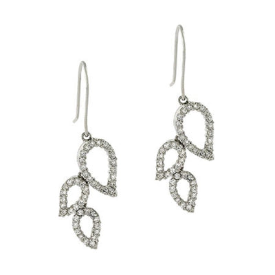 Sterling Silver Leaf Hook Dangle Bridal CZ Earrings