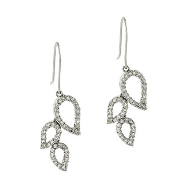 Sterling Silver Leaf Hook Dangle CZ Earrings