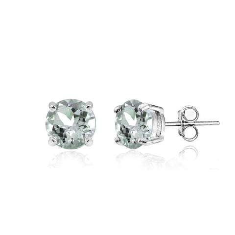 Sterling Silver Aquamarine 5mm Round Stud Earrings