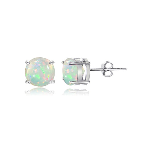 Sterling Silver 0.60ct Ethiopian Opal Stud Earrings, 5mm