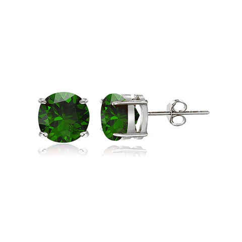 Sterling Silver Simulated Emerald 5mm Round-Cut Solitaire Stud Earrings