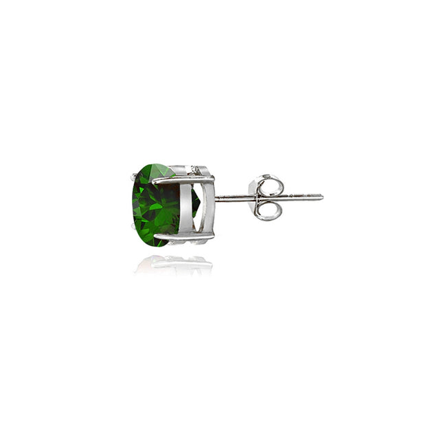 Sterling Silver Created Emerald 5mm Round-Cut Solitaire Stud Earrings