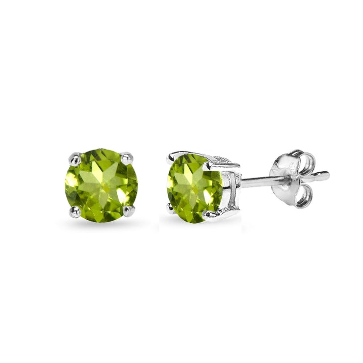 Sterling Silver Peridot 5mm Round-Cut Solitaire Stud Earrings