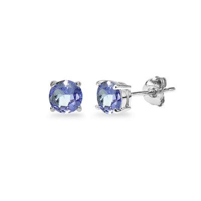 Sterling Silver Tanzanite 5mm Round Stud Earrings