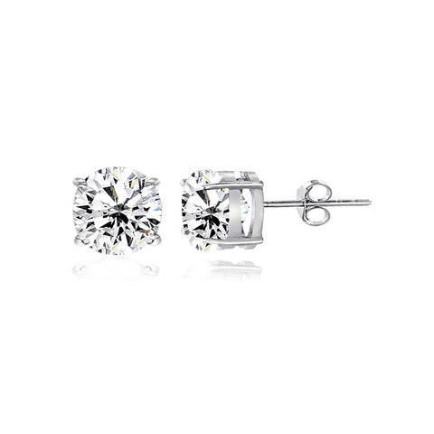 Sterling Silver White Topaz 5mm Round-Cut Solitaire Stud Earrings
