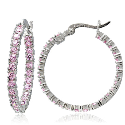 Sterling Silver Light Pink Cubic Zirconia Round Hoop Earrings, 25mm
