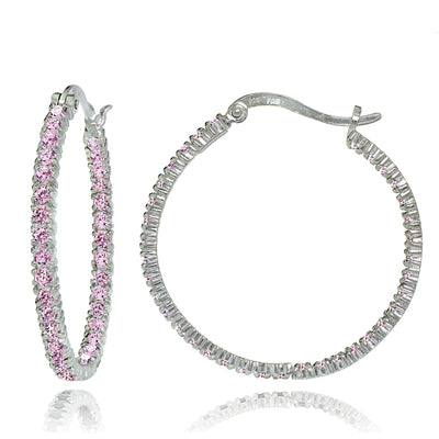 Sterling Silver Light Pink Cubic Zirconia Inside Out 30mm Round Hoop Earrings