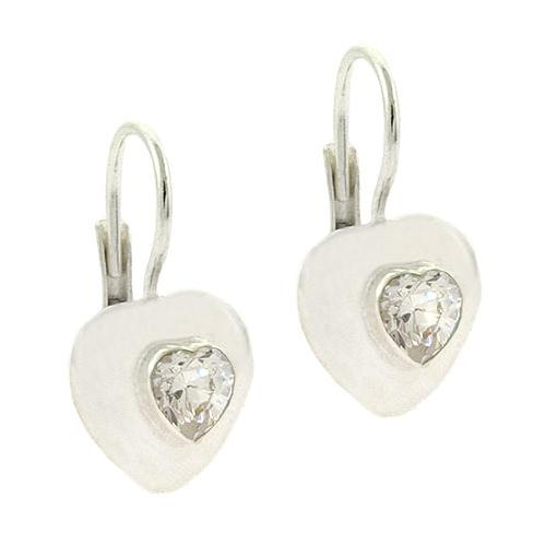 Sterling Silver CZ Heart Leverback Earrings