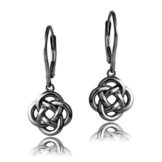 Black Flashed Sterling Silver Love Knot Flower Dangle Leverback Earrings