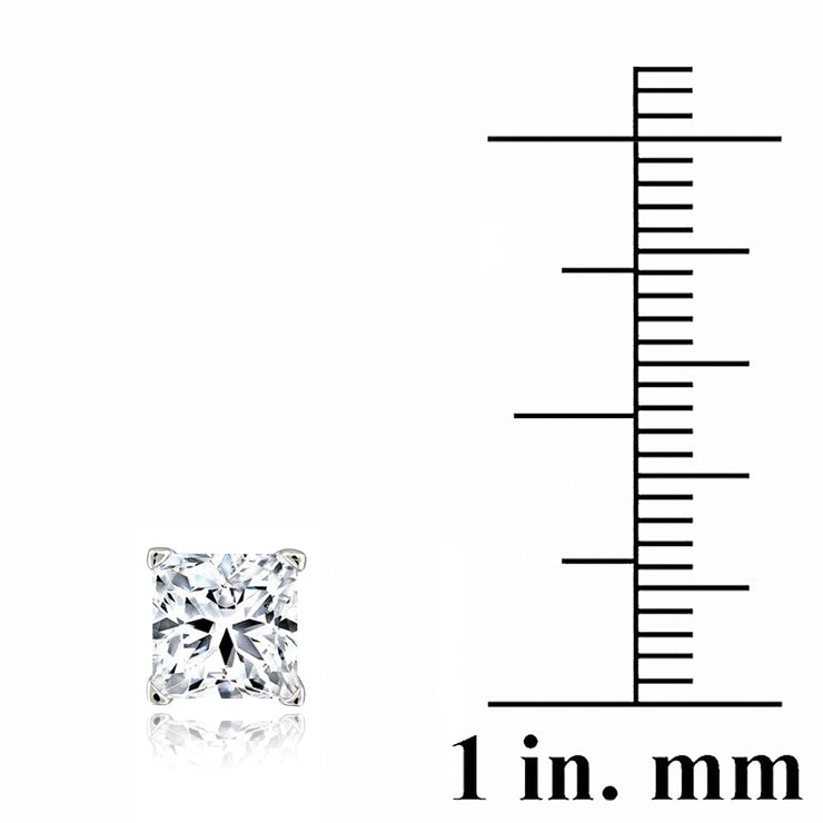 Silver Tone 2.5ct CZ Square Stud Earrings, 6mm