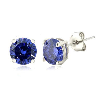 Silver Tone Simulated Tanzanite 6mm Round Stud Earrings