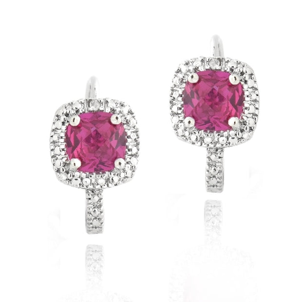Silver Tone Diamond Accent 2ct Created Ruby Square Earrings
