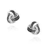 Black Diamond Accent Love Knot Earrings