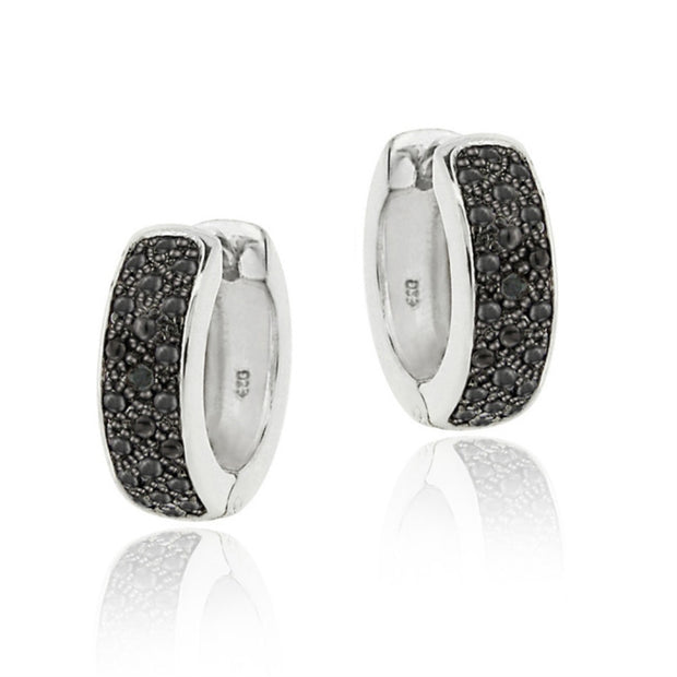 Black Diamond Accent Huggies Hoop Earrings