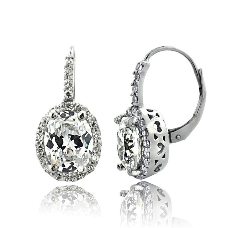 Silver Tone 4ct CZ Oval Halo Leverback Earrings