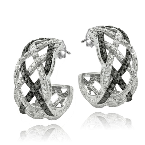 1/4 Ct Black & White Diamond Weave Half Hoop Earrings