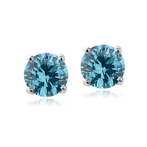 Swarovski Elements Aqua  March Birthstone Stud Earrings