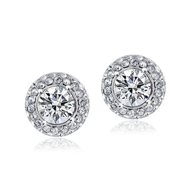 Crystal Halo Stud Earrings with Swarovski Elements