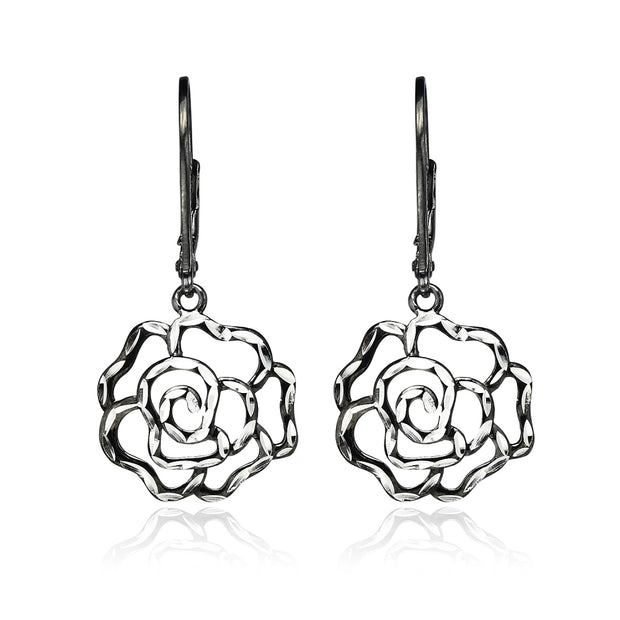 Black Flashed Sterling Silver Two-Tone Diamond-cut Rose Flower Dangle Leverback Earrings