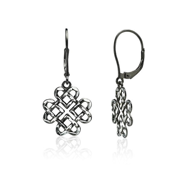 Black Flashed Sterling Silver Two-Tone Diamond-cut Celtic Heart Love Knot Leverback Earrings