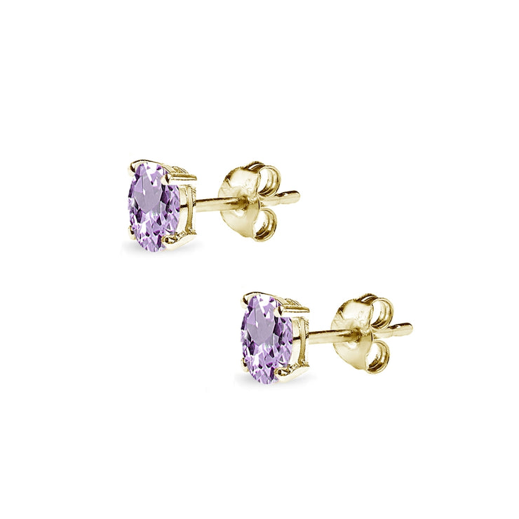 Yellow Gold Flashed Sterling Silver Amethyst 5x3mm Oval-Cut Solitaire Stud Earrings