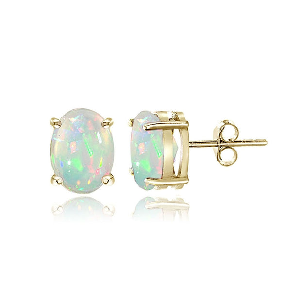 Gold Tone over Sterling Silver 0.30ct Ethiopian Opal 5x3 Oval Stud Earrings