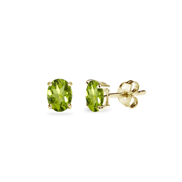 Yellow Gold Flashed Sterling Silver Peridot 5x3mm Oval-Cut Solitaire Stud Earrings