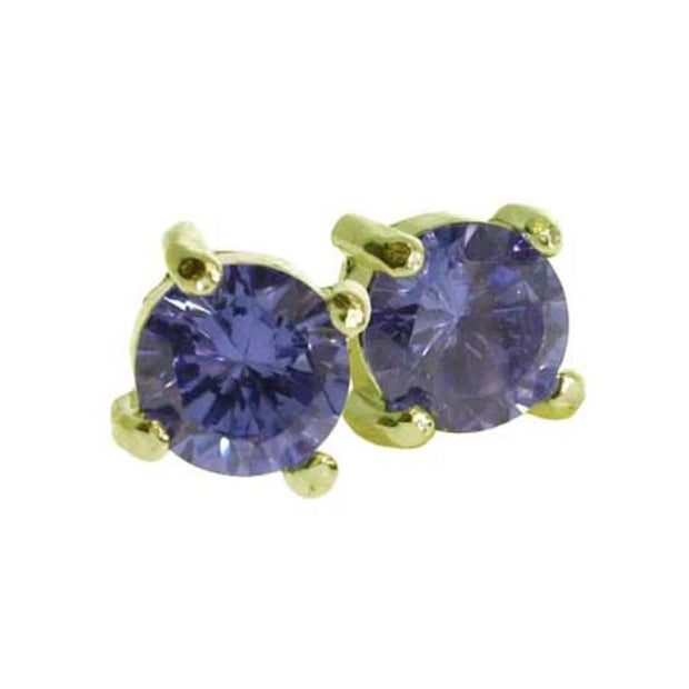 18K Gold over Sterling Silver Tanzanite CZ Round Stud Earrings, 5mm