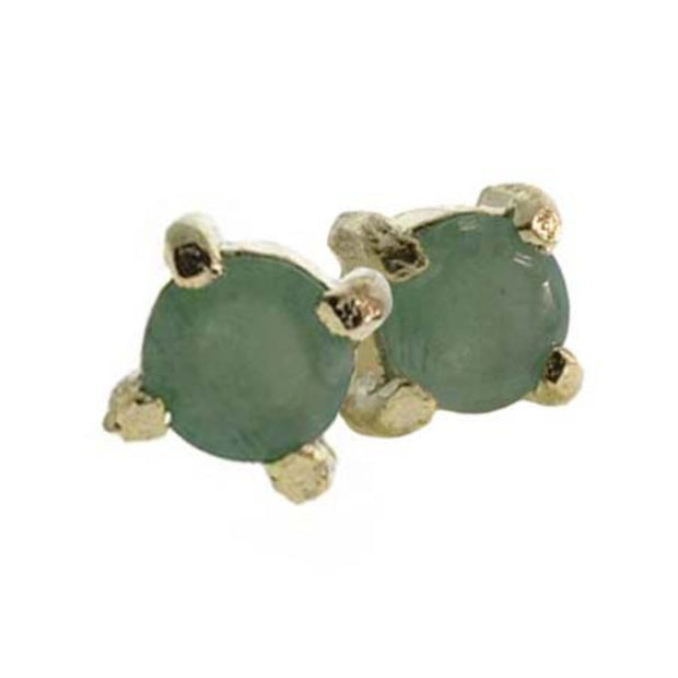 18K Gold over Sterling Silver Emerald 4mm Round Stud Earrings