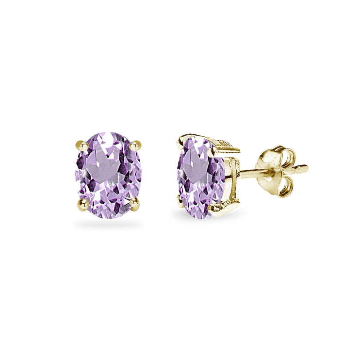 Yellow Gold Flashed Sterling Silver Amethyst 6x4mm Oval-Cut Solitaire Stud Earrings