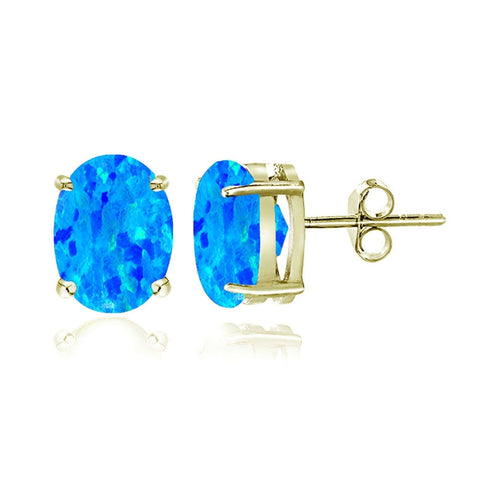 Gold Tone over Sterling Silver Created Blue Opal 6x4mm Oval Stud Earrings