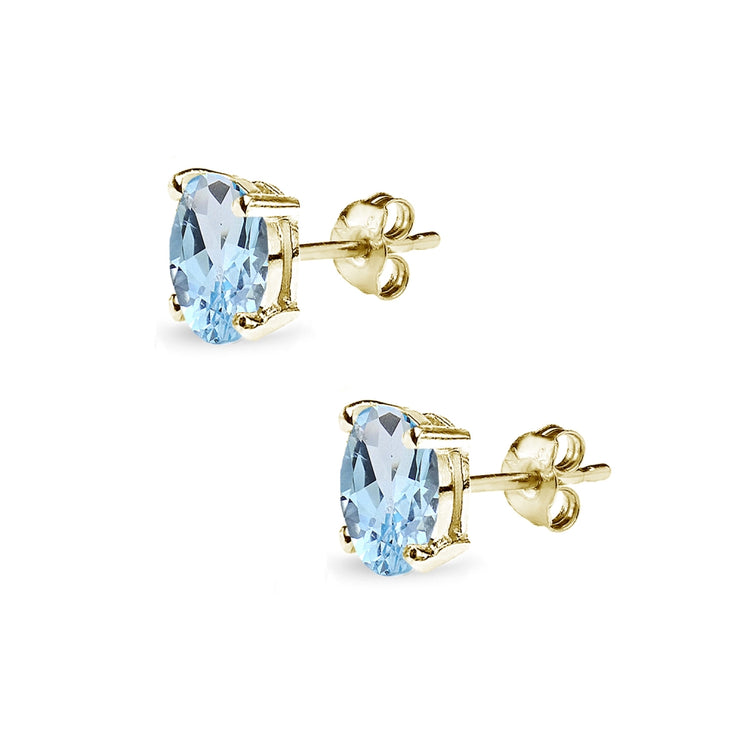 Yellow Gold Flashed Sterling Silver Blue Topaz 6x4mm Oval-Cut Solitaire Stud Earrings