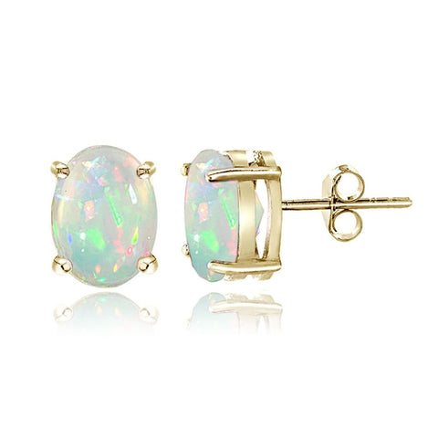 Gold Tone over Sterling Silver 0.50ct Ethiopian Opal 6x4 Oval Stud Earrings