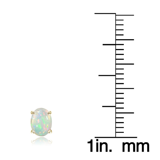 Gold Tone over Sterling Silver 1/2 ct Ethiopian Opal 6x4 Oval Stud Earrings