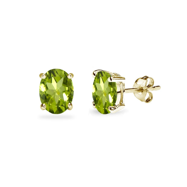 Yellow Gold Flashed Sterling Silver Peridot 6x4mm Oval-Cut Solitaire Stud Earrings