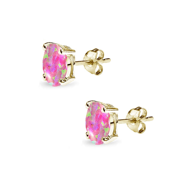 Yellow Gold Flashed Sterling Silver Simulated Pink Opal 6x4mm Oval-Cut Solitaire Stud Earrings